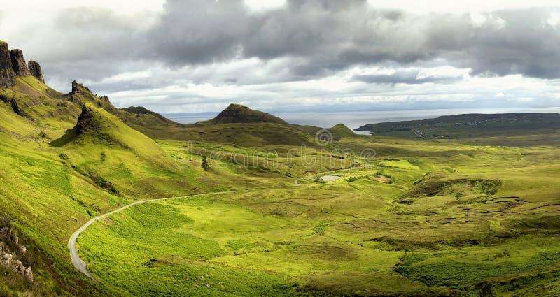 在skye,苏格兰小岛的Quiraing  免版税库存图片