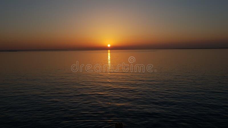 在Solent的日落 图库摄影