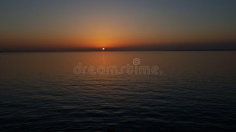 在Solent的日落 免版税库存图片