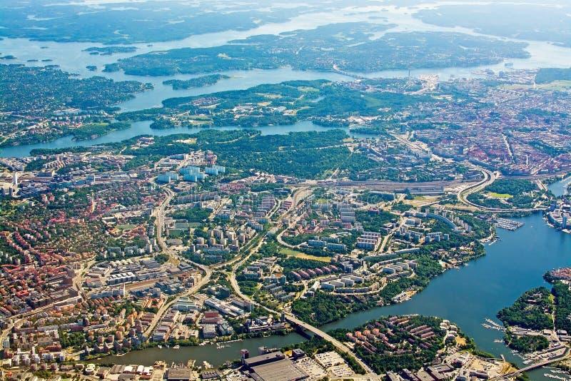 在Solna Lidingo瑞典的空中射击 免版税图库摄影