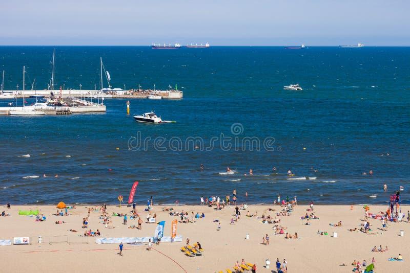 在Sopot的海滩 免版税库存照片
