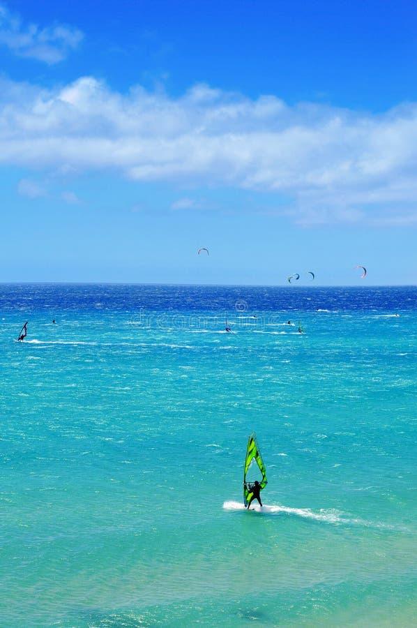 在Sotavento海滩的风帆冲浪者和kitesufers 免版税库存照片