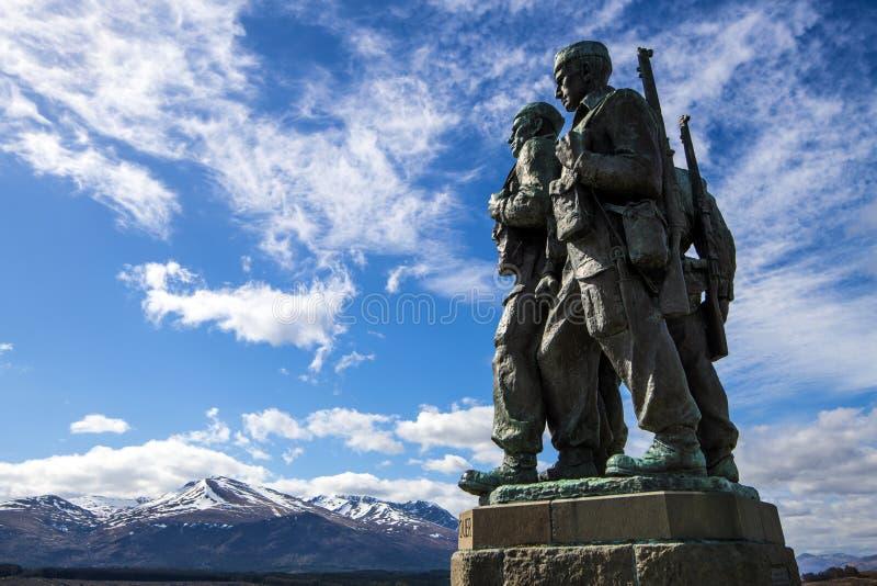 在Spean桥梁的特攻队纪念品在苏格兰的高地 库存图片