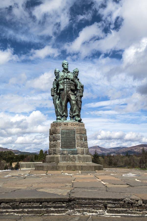 在Spean桥梁的特攻队纪念品在苏格兰的高地 免版税库存照片