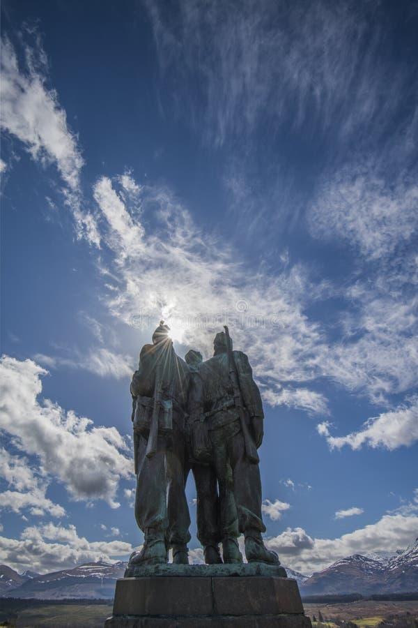 在Spean桥梁的特攻队纪念品在苏格兰的高地 免版税库存图片