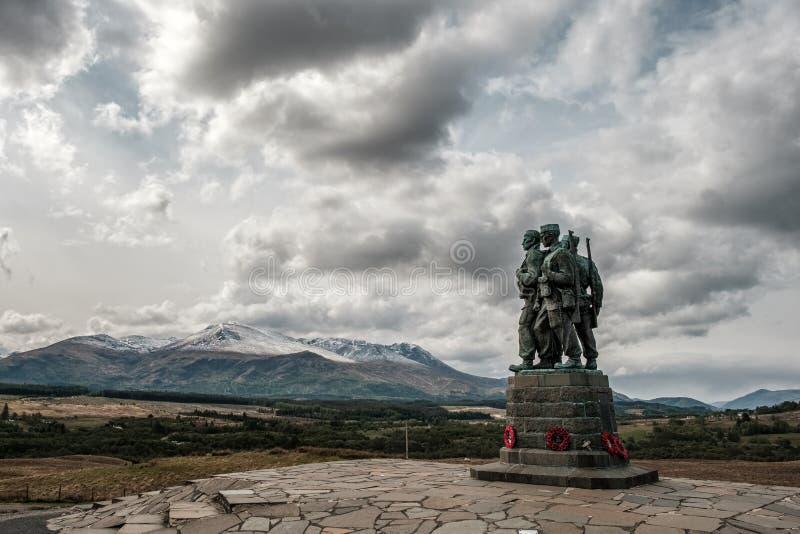 在Spean桥梁的特攻队纪念品在苏格兰 库存图片