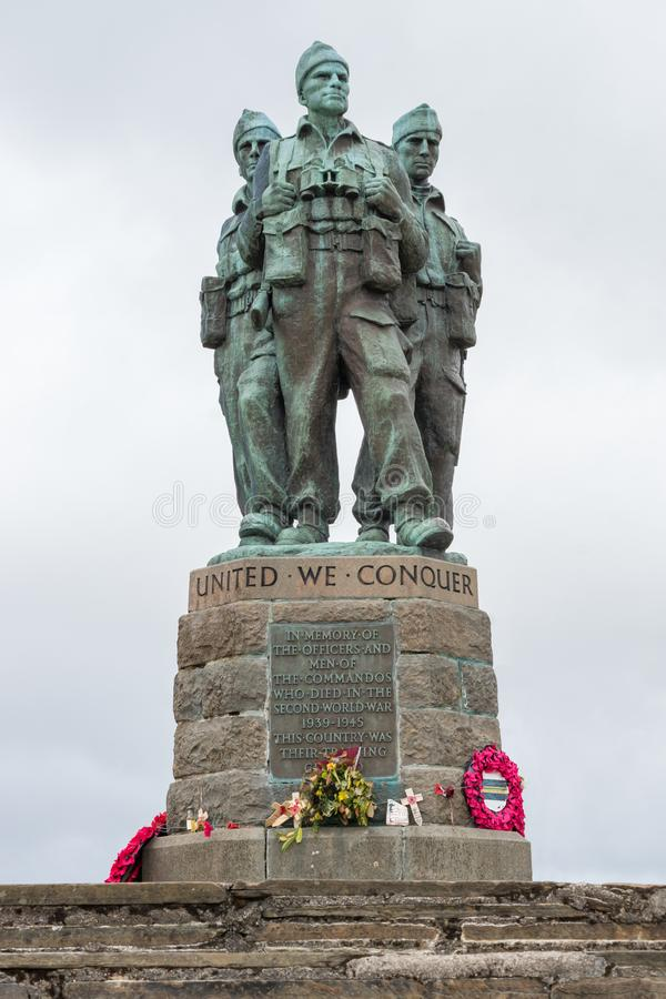 在Spean桥梁,苏格兰的特攻队纪念品 库存图片