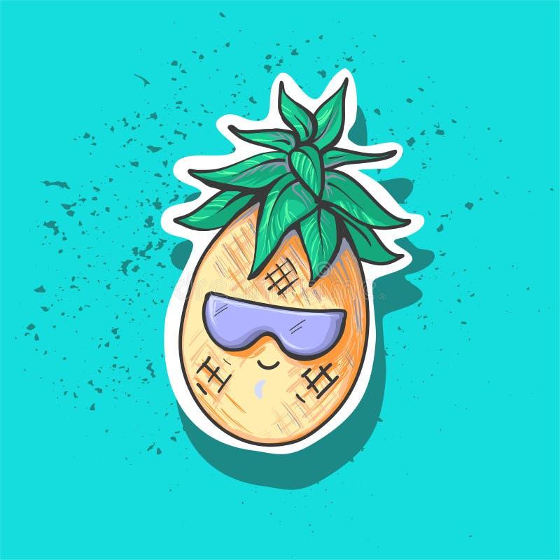 在sprintun玻璃的逗人喜爱的微笑的滑稽的菠萝字符,时尚补丁徽章,夏天贴纸,时尚 皇族释放例证