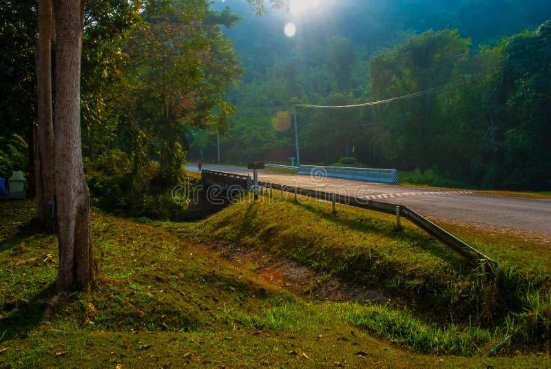 在Sri星期六查家Na赖国家公园风景的路, Sukhothai,泰国 库存图片