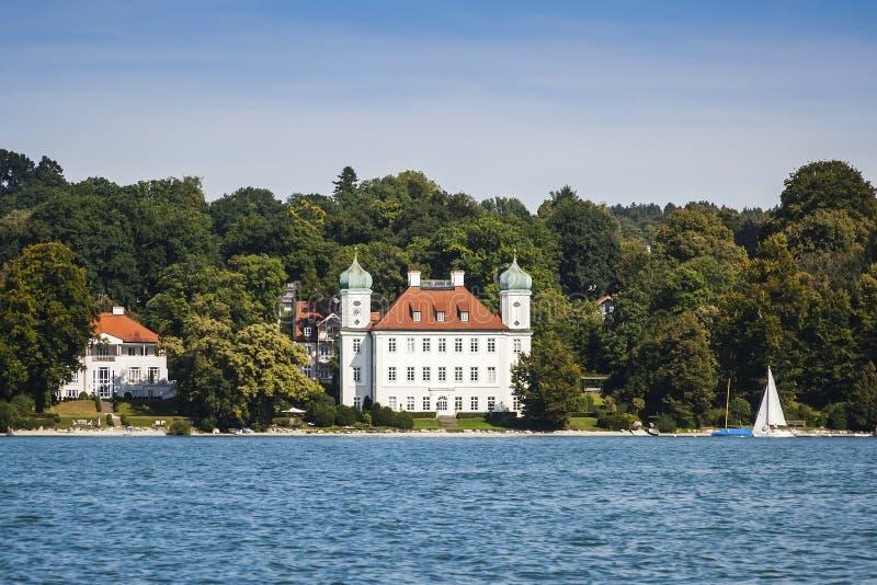 在Starnberg湖的Pocci城堡 免版税库存照片