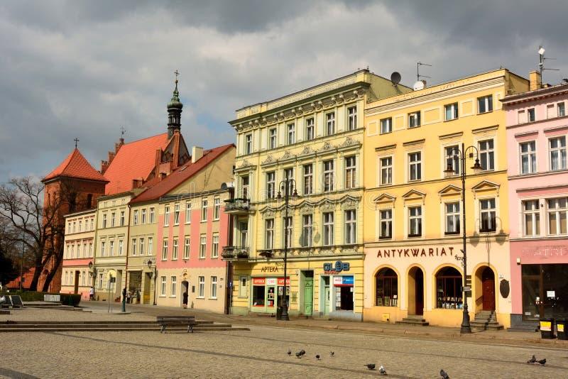 在Stary Rynek的居民住房在比得哥什摆正 免版税库存照片