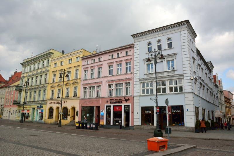 在Stary Rynek的居民住房在比得哥什,波兰摆正 免版税库存图片