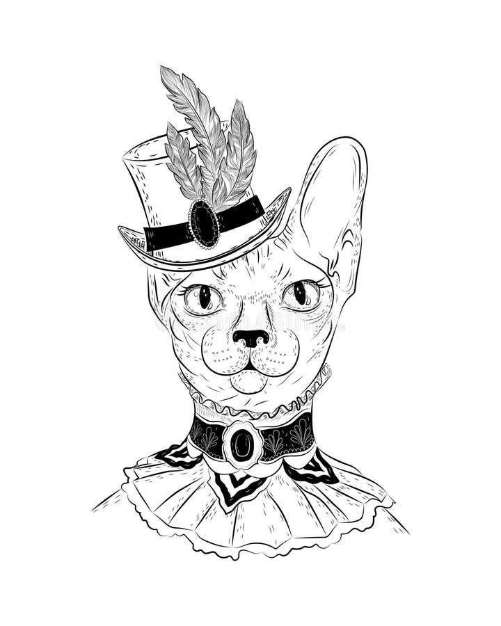 在steampunk或减速火箭的样式的Sphynx猫 免版税库存照片