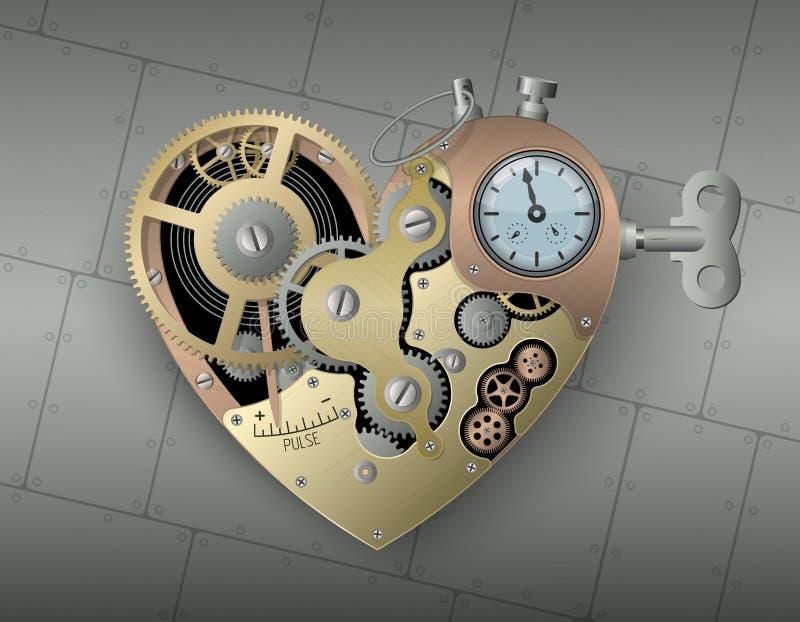 在steampunk样式的机械心脏 r 向量例证