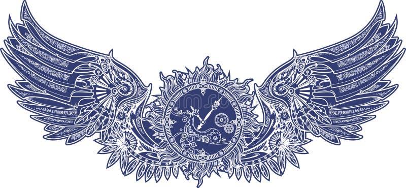 在steampunk样式的机械翼与钟表机构 蓝色 向量例证