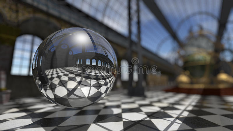 在steampunk维多利亚女王时代的内部的超现实的球形 3d翻译 向量例证