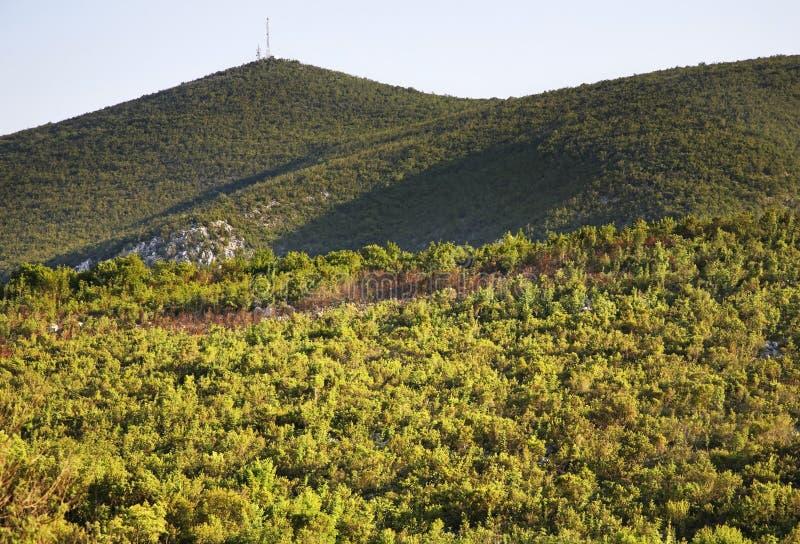 在Studenci附近的风景 达成协议波斯尼亚夹子色的greyed黑塞哥维那包括专业的区区映射路径替补被遮蔽的状态周围的领土对都市植被 库存图片
