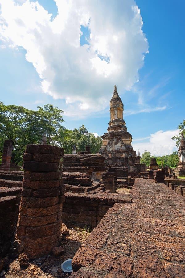 在Sukhothai省,泰国的Wat Jedi Jed Teaw寺庙 库存图片
