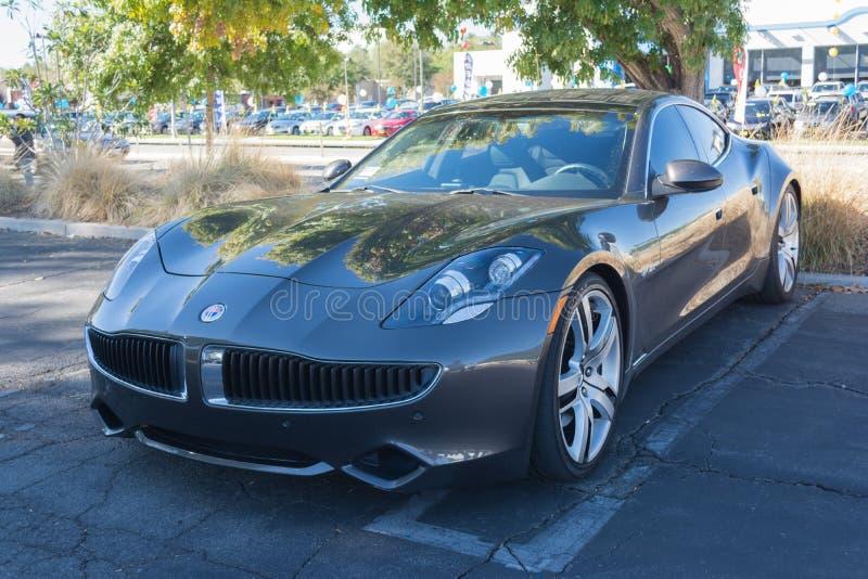 在Supercar星期天电动车的Fisker因果 免版税库存照片