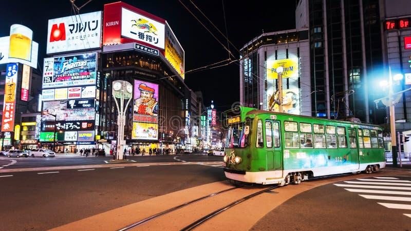 在Susukino区,札幌的电车乘驾 库存图片