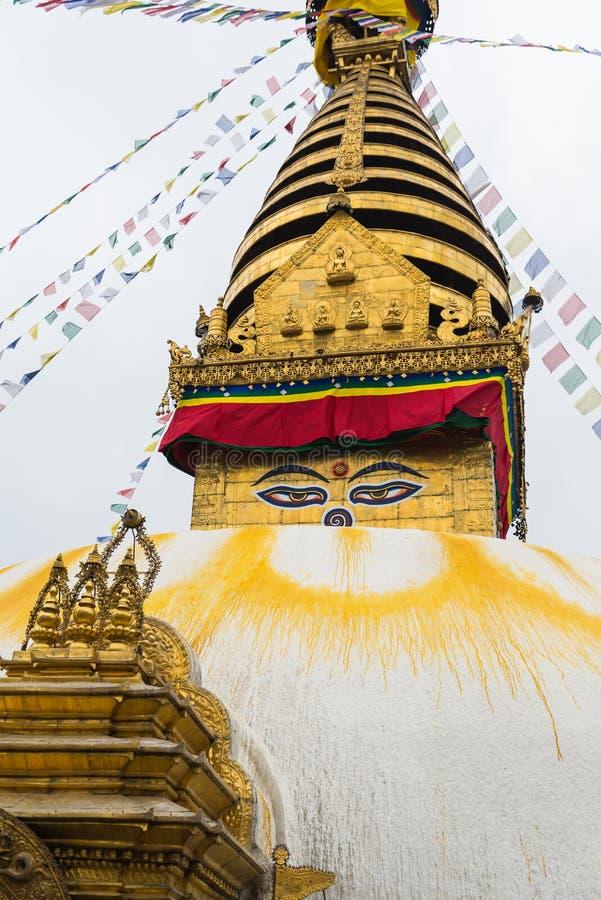 在Swayambhunath,尼泊尔的菩萨眼睛 库存照片