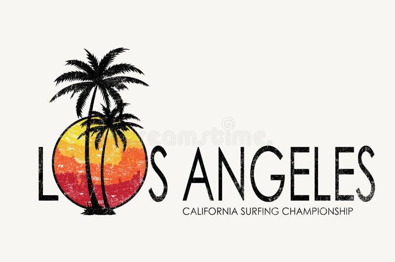 在T恤杉设计上写字的洛杉矶 库存例证