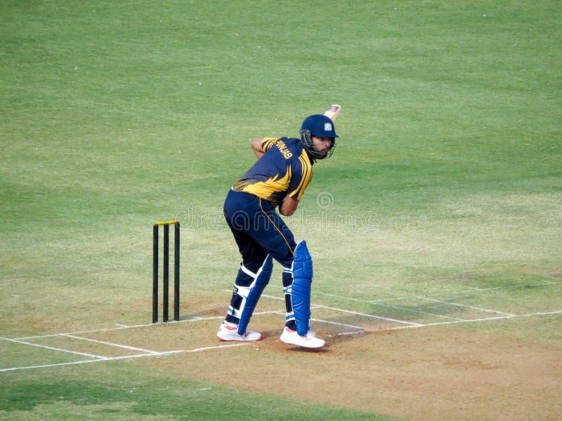 在T-20比赛的Yuvraj Singh打击在Holkar蟋蟀体育场印多尔 免版税库存照片
