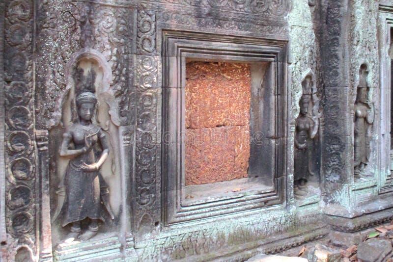 在Ta正式舞会寺庙墙壁上的Apsaras,吴哥,柬埔寨 图库摄影