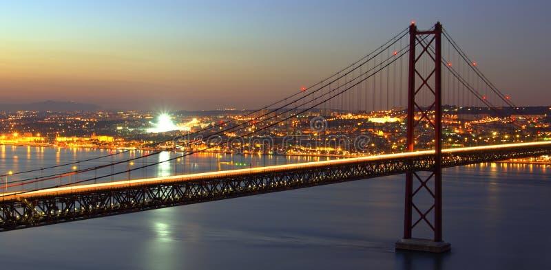在tagus的桥梁hdr 免版税库存照片