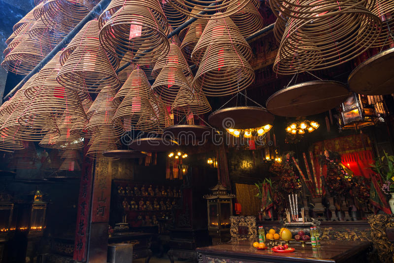 在Tai的Po,香港东华三院文武庙激怒锥体 免版税库存照片