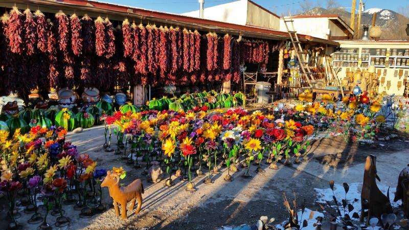 在Taos NM附近的新墨西哥五颜六色的市场 库存图片