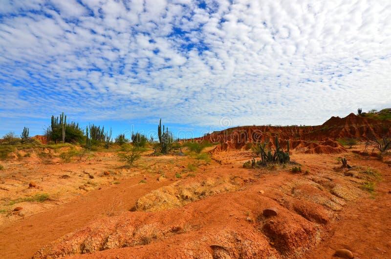 在Tatacoa沙漠,哥伦比亚的卷积云 库存照片
