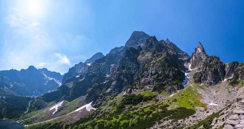 在Tatra Mountais的岩石峰顶 免版税库存图片