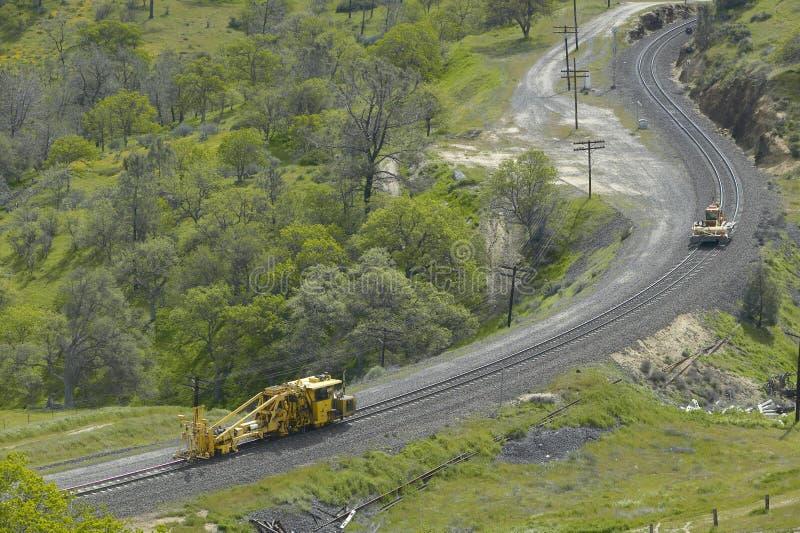 在Tehachapi加利福尼亚附近的Tehachapi火车圈是货车南太平洋铁路的历史的地点 图库摄影
