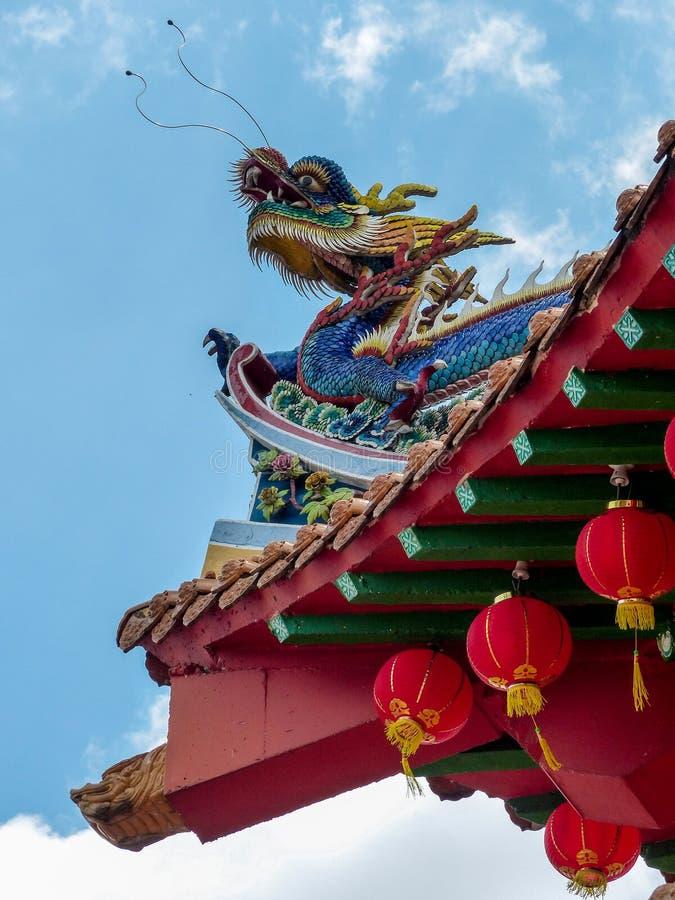 在Thean后屿寺庙的中国龙细节在吉隆坡 库存图片