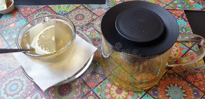 在timisoara罗马尼亚餐馆小的河内小餐馆的Sencha绿茶 免版税库存照片