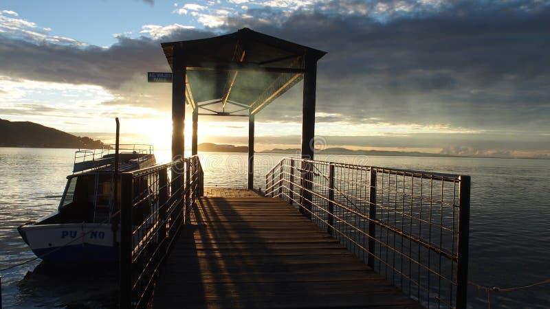 在Titicaca湖的日出 库存图片