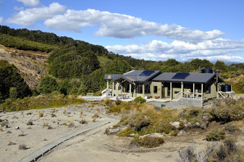 在Tongagiro足迹, NZ的Waihohonu小屋 免版税图库摄影