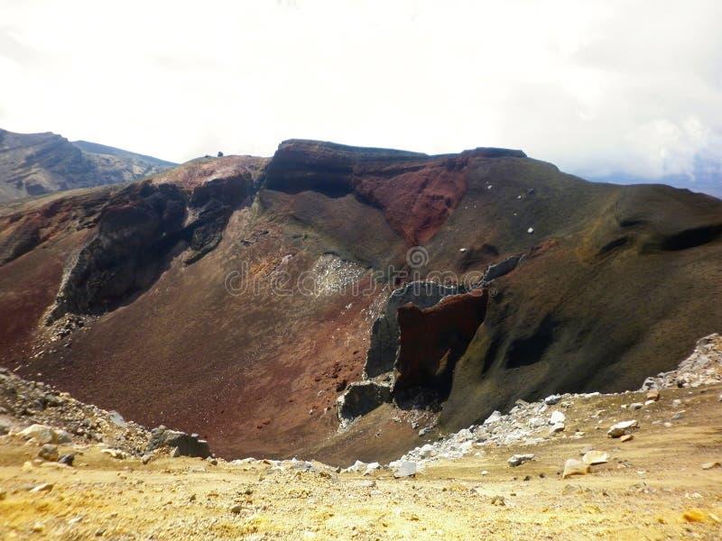 -在Tongariro火山,横渡国家公园的Tongariro上面的红色火山口  免版税库存照片