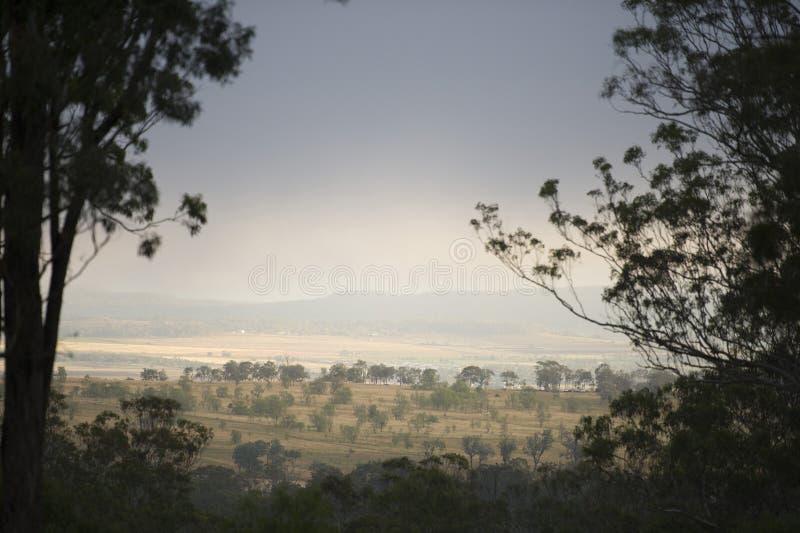 在Toowoomba,澳大利亚风景的美好的日落  免版税库存图片
