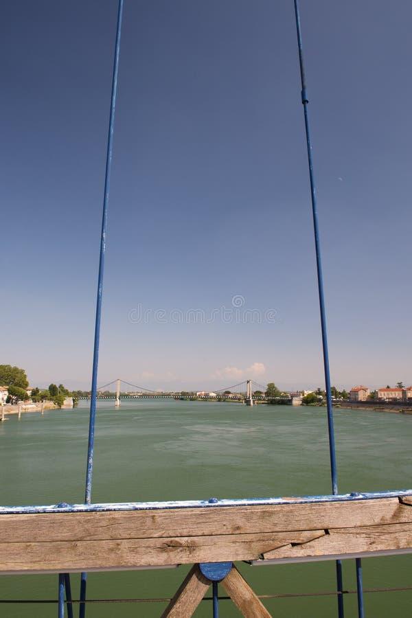 在Tournon的桥梁在法国 免版税库存照片