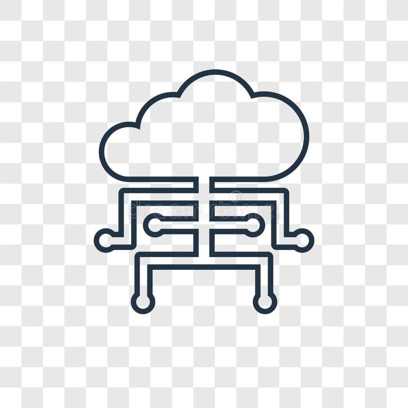 在transpare隔绝的云彩计算的概念传染媒介线性象 向量例证