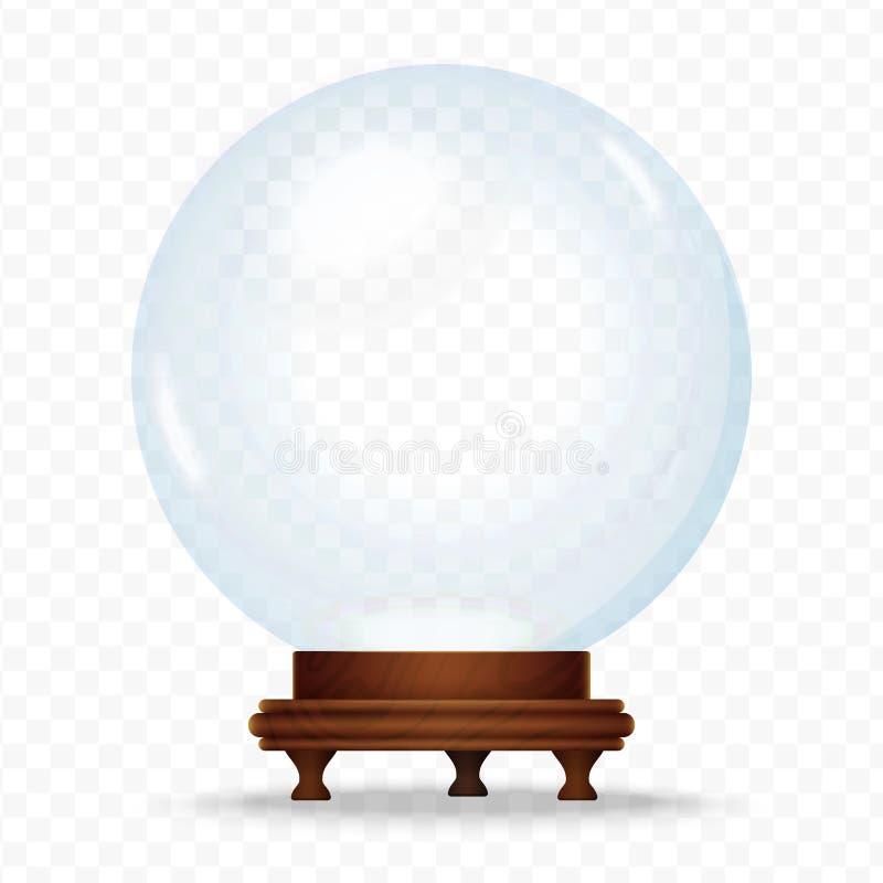 在transperant背景隔绝的现实雪球形地球 不可思议的水晶玻璃球 圣诞节雪地球 向量例证