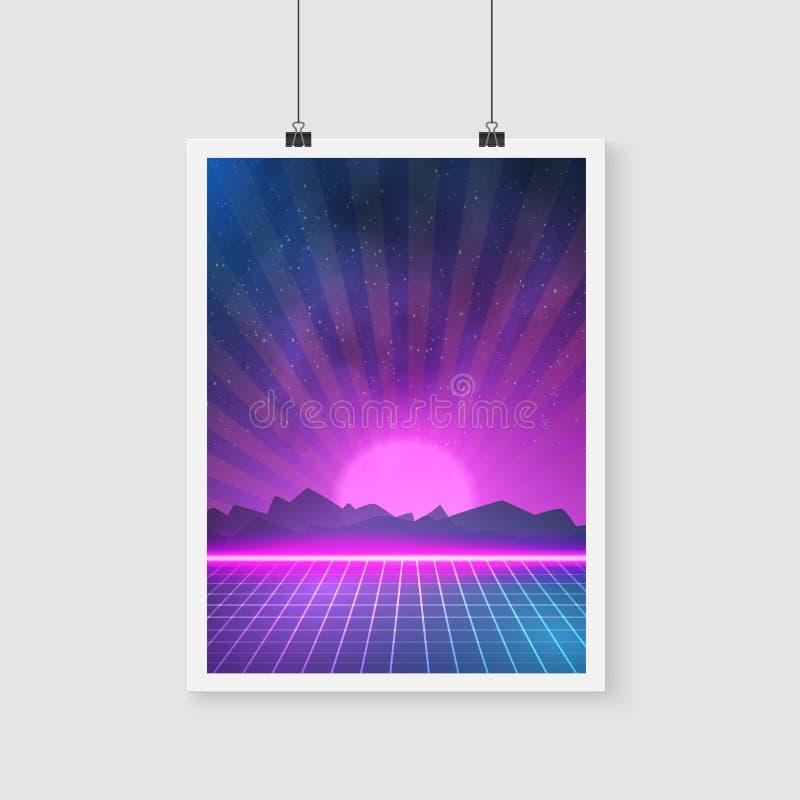 Download 在Tron样式做的减速火箭的迪斯科80s霓虹海报 向量例证. 插画 包括有 减速火箭, 比赛, 发光, 宇宙 - 62527885