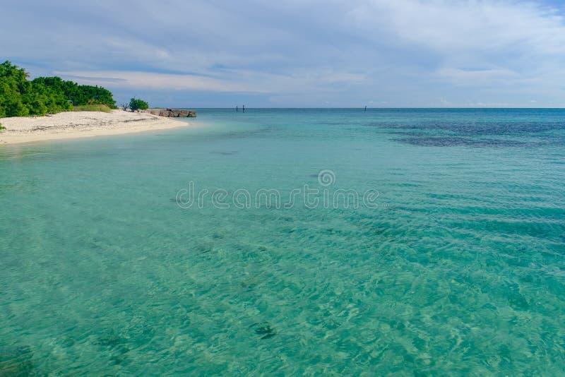 在tropi的海岛上的透明和浅水区 库存图片
