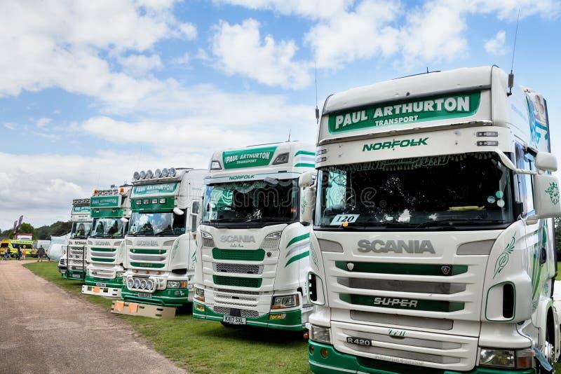 在Truckfest诺威治英国的保罗Arthurton斯科讷卡车 库存图片