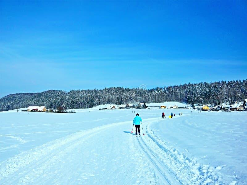 在Trutnov附近的捷克共和国滑雪者 免版税库存照片