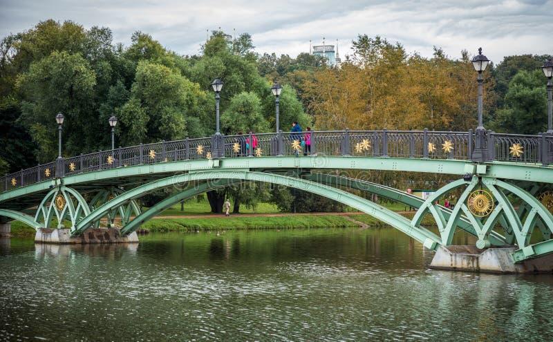 在Tsaritsyno公园里面的桥梁有五颜六色的树的 库存照片