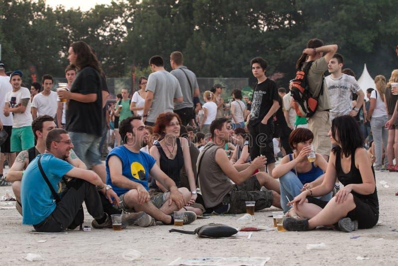 在Tuborg绿色Fest的风扇 编辑类图片