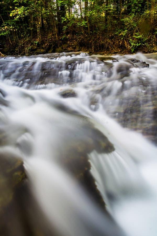 在Tucquan小河的小瀑布,在兰开斯特县, Pennsylva 免版税库存图片